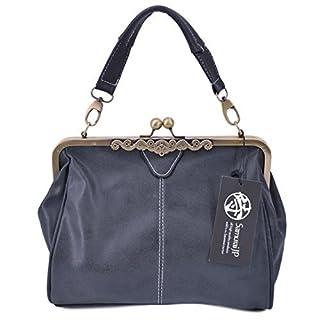 Samurai JP Cross Body PU Leather Messenger Bag Antique Design Handbag for Women with Handkerchief (Matt Black)