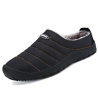 SAGUARO® Herren Damen Winter Hausschuhe Plüsch Warm Gefütterte Schneestiefel Baumwolle Slippers Outdoor Freizeit Schuhe, Schwarz 44