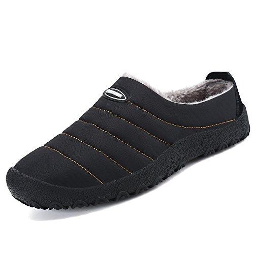 SAGUARO Herren Damen Winter Hausschuhe Plüsch Warm Gefütterte Schneestiefel Baumwolle Slippers Outdoor Freizeit Schuhe, Schwarz 43