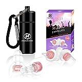 Tappi per le orecchie da donna, Hearprotek 20db la protezione dell'udito tappi auricolari riutilizzabili per musica, concerti, discoteca e festival (Rosa)