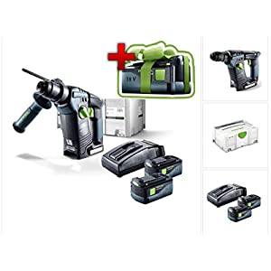 Jetzt mit GRATIS AKKU: Festool BHC 18 Li Plus Akku Bohrhammer SDS-Plus im Systainer mit 2x BP 5,2 Ah Akkupack und TCL 6…