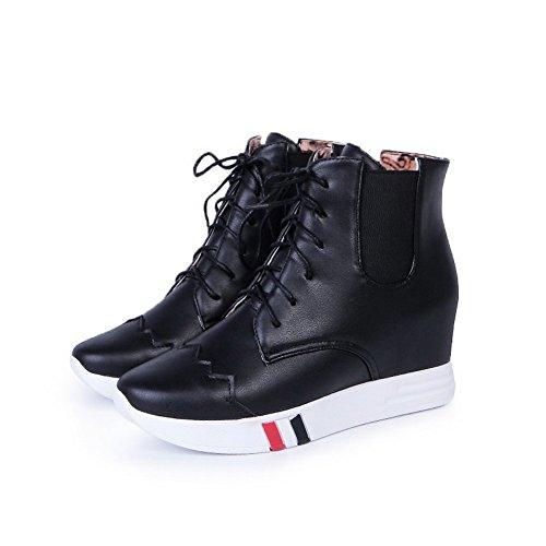 VogueZone009 Donna Tacco Alto Alla Caviglia Puro Allacciare Stivali Nero