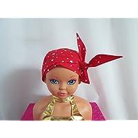 Foulard chimio enfant, turban rouge avec des étoiles blanches