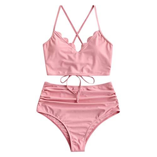 KEERADS Damen Gepolsterter Bikini Set Bademode Badeanzug Zweiteilig Push up Bikini Set Neckholder Bikini Oberteil Mit High Waist Bikini Bottom