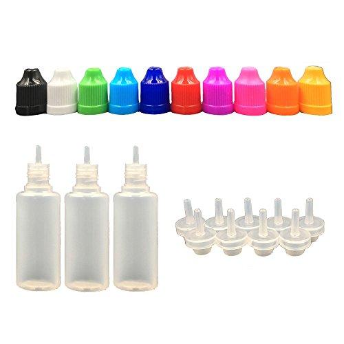Plastikware Leere Squeezable Dropper Flaschen mit Spitzen Abdeckung Bottles ( Flaschen + Weiß Abdeckung + Spitzen ) (Pipette 15 Ml Flaschen)