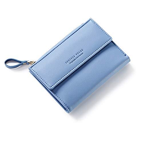 Damen Brieftasche Kurze weibliche japanische und koreanische Version der Mehrkartenposition (12,5 * 9 cm), blau