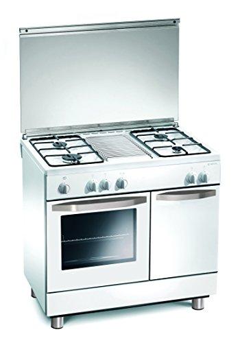 Gasherd 90x60x85 cm weiß 4 Kochplatten mit Gas-Backofen - Regal RC7964GW