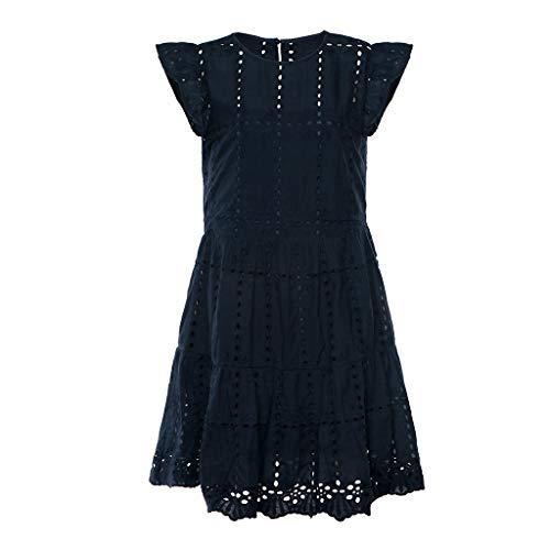 VECOLE Damenoberteile Summer Fashion Damen Einfarbig Lässig Rüsche Ärmel Damen Oansatz Openwork Plissee A-Line Kleid(Schwarz,L) -