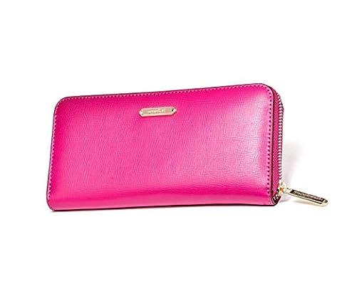 Damen Leder Geldbörse Geldbeutel Klappfach Portemonnaie Geschenk (Rosa)