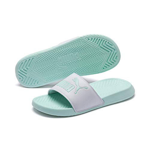 Puma Popcat, Zapatos de Playa y Piscina Unisex Adulto, Blanco White-Fair Aqua 43, 43 EU