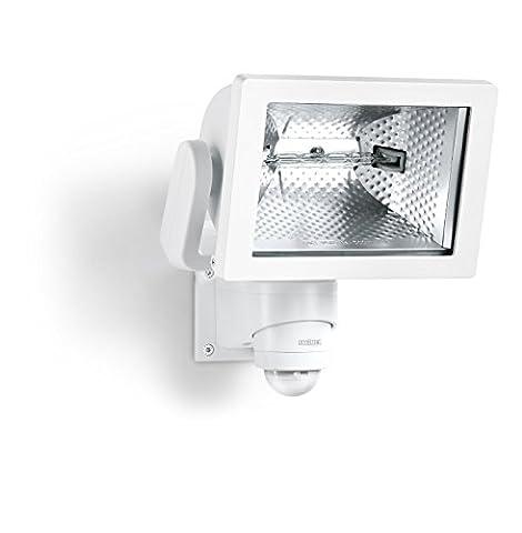 Steinel HS 500 Blanc - Projecteur halogène à détection infrarouge pour façades de maison et allées, lampe pour extérieur avec détecteur de mouvement 240°, portée max. 20 m, 633516