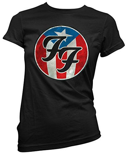 T-shirt Donna Foo Fighters - USA theme Maglietta 100% cotone LaMAGLIERIA,M, nero