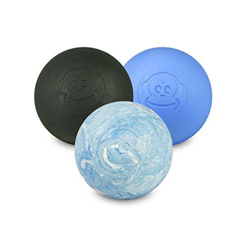 Preisvergleich Produktbild Captain LAX Massageball Original - Lacrosseball im 3er Pack in Schwarz,  Blau,  Weiß / Pink / Hellblau,  aus Hartgummi,  Größe einzeln 6 x 6 cm geeignet für Triggerpunkt- & Faszienmassage / Crossfit