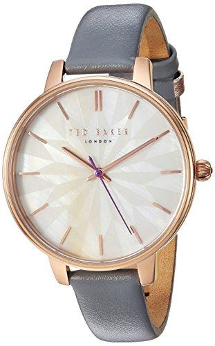 Ted Baker 'Kate' Femme à quartz en acier inoxydable et cuir décontractée montre, couleur gris (modèle: Te50272005)