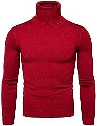 Laisla fashion Jersey De Cuello Alto De Los Hombres De Cuello Redondo Clásico Jersey De Punto