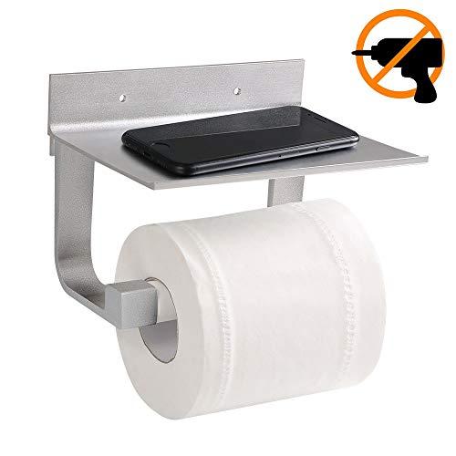 flintronic Toilettenpapierhalter (mit ablage und ohne bohren) Matt Raum Aluminium 81MM Fuß Hohe Bauform (einschließlich patentierter kleber, selbstklebender 3m-kleber, 2 schraube) für Badezimmer Küche -