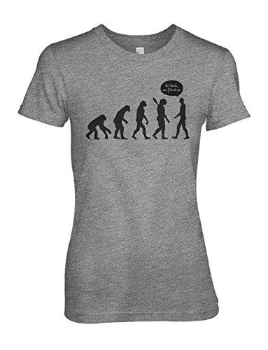Human Evolution Komisch Humanity Sarcastic Damen T-Shirt Grau
