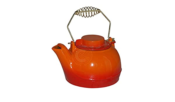 Functional Enamel Cast Iron Kettle Humidifier Tea Pot Orange