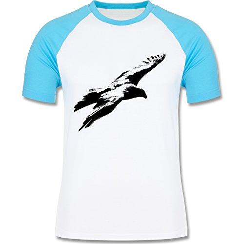 Tiermotive - Schwarzer Adler - L140 - Raglan Männer Herren T-Shirt mit Kontrastärmeln und Rundhalsausschnitt Weiß/Türkis