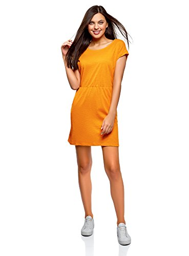 oodji Ultra Damen Jerseykleid mit Gummizug in der Taille, Orange, DE 34 / EU 36 / XS
