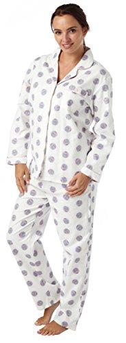 Dames 100% Coton Brossé Robin Imprimé Winceyette Pyjama. Tailles 10-12 14-16 18-20 IVOIRE CHOUETTE