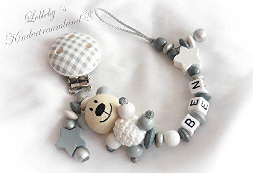 catenella-porta-succhietto-con-nome-personalizzato-orsacchiotto-grigio-bianco-vichy