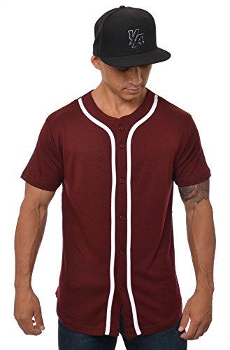 youngla Premium Qualität Ultra softe Baumwolle Baseball T-Shirts Jersey uni Button-Down Sports Tee, burgunderfarben -