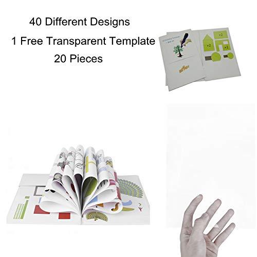 Starworld 3d-Schablonen, 3d, Bücher für Doodle-Muster, mit transparenten, Geschenk für Kinder (20VERSCHIEDENEN 40Blatt Muster, verschiedene Designs) - 2