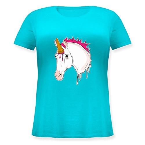 Statement Shirts - Einhorn mit Eis - Lockeres Damen-Shirt in großen Größen mit Rundhalsausschnitt Türkis