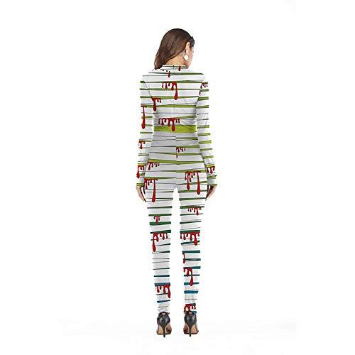 SHANGLY Halloween Cosplay Jumpsuit Kostüme Damen Bandage Mumie Blut 3D-Stil Bodysuit,L/XL