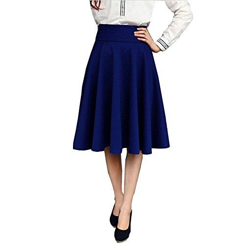 Damen Einfarbig Maxirock hohe Taille gefalteten Falten Rock Plisseerock Maxi Swing Mode Normallack Röcke (3XL-Taille: 33.07