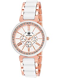 OCTIVO MARTIN OM-CH 2051 White Dial Rose Gold Studded Bezel Chronograph Pattern Analogue Watch - For Women & Girls