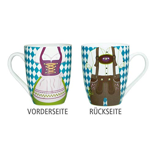 ebos Dirndl Lederhose - Tasse   Kaffeetasse, Teetasse, Porzellantasse   lebensmittelecht,...