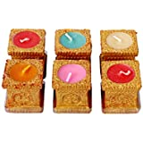 Aroma18 Colourful Hand Painted Divine Tusli Clay Diwali –Diya-Diva–Lamps–Kodiya With Wax | Diya For Decoration | Diya For Puja | Diya Holder Decorative | Diya Lamps For Pooja | Diwali Gifts And Decoration | Diwali Diya Earthen Clay Diyas