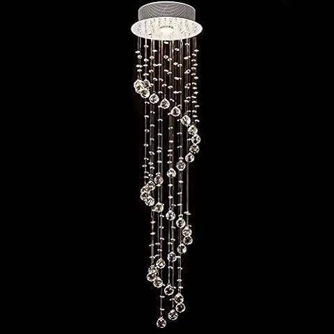 Modern Spiral Transparent Crystal Droplet Balls Ceiling Lighting, 1 Lamp Crystal Beads Chandelier Pendant for Dining Room Study Room Bedroom Size D25cm