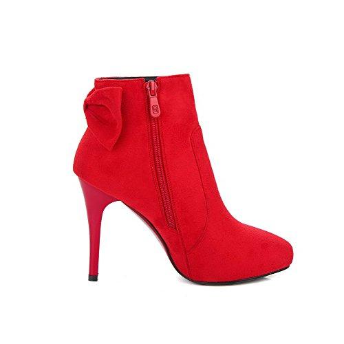 AllhqFashion Damen Schleife Rein Stiletto Reißverschluss Spitz Zehe Stiefel Rot