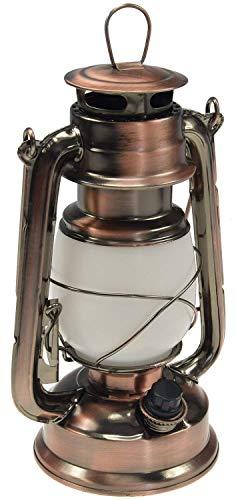 LED Camping Laterne Sturmleuchte Kupfer Design dimmbar Batteriebetrieb 4x AA Mignon 23,5cm hoch Öse Bügel warmweiß
