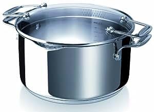 Bekaline 13231244 Chef Pratique Faitout + couvercle verre en acier inoxydable 24 cm