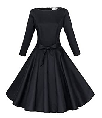 Babyonline Black 3/4 Long Sleeves 1940's 50s Rockabilly Party Dress With Bow Sash Large Black