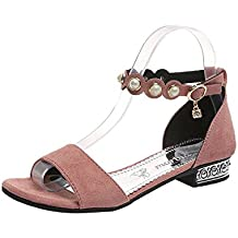 05410a30ef1 Calzado Chancletas Tacones Moda Sandalias Roma Mujer Calzado de Tacón bajo  Pearl Mirar furtivamente Toe Crystal