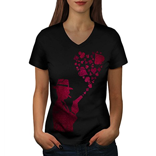 Gángster As Póker Casino Rosado Disparo Women XL V-Ausschnitt T-Shirt | Wellcoda (Anzug Poker T-shirt)