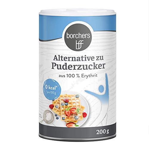 borchers kalorienfreie Alternative zu Puderzucker, 100 % Erythrit, im Streuer, Kalorienfrei 200g