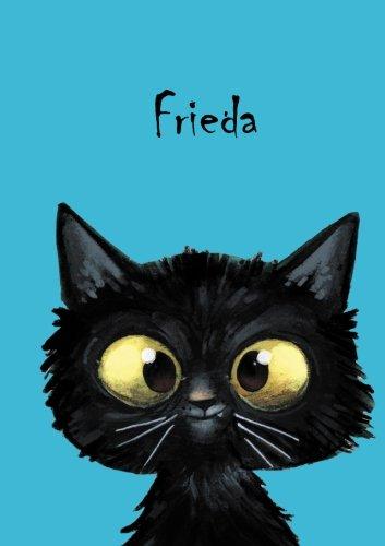 Frieda: Personalisiertes Notizbuch, DIN A5, 80 blanko Seiten mit kleiner Katze auf jeder rechten unteren Seite. Durch Vornamen auf dem Cover, eine Coverfinish. Ãœber 2500 Namen bereits verf
