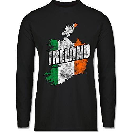 Shirtracer Länder - Ireland Umriss Vintage - Herren Langarmshirt Schwarz