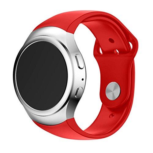 BZLine Sport Silikon Armband Silikonarmband für Samsung Galaxy Gear S2 SM-R720 Smart Luxusuhr (Rot)