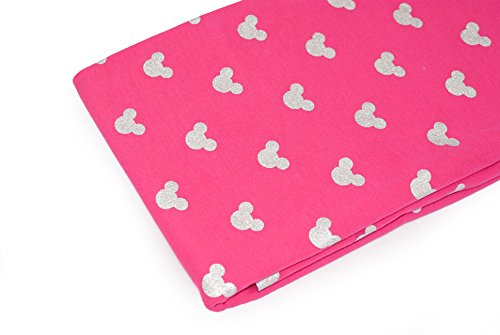emustert als Meterware |Muster: Silber Mäuse auf Pink|200cm x 160cm|92% Baumwolle, 8% Elasthan|Mehrere Farben zur Auswahl|Jersey ()