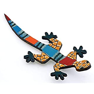 Dekorative Keramik-Bilder und Masken, handgefertigt und handbemalt, mit mehrfarbiger Foc-Art-Dekoration. 33442 - Small Lizard Nº2