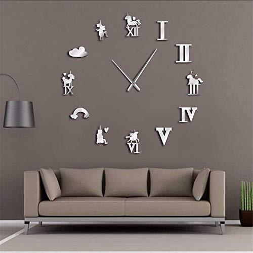 Mzdpp Tier Große Wanduhr Regenbogen Wolke Magische Riesen Wanduhr Modernes Design Kinderzimmer Wohnzimmer Wanduhr KunstSilber 47 Zoll