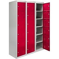 MonsterShop 3 x Metal Lockers, 6 Doors Storage, Red & Grey Metal Lockable Unit Staff School Gym Changing Room