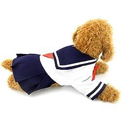 selmai azul marino Marinero Capitán disfraz para vestidos estilo fresco estudiante uniforme, para pequeño perro gato cachorro mascota
